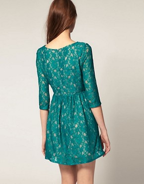 Image 2 ofFrench Connection Lace Dress With 3/4 Sleeve