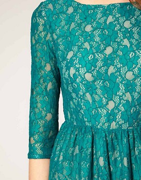 Image 3 ofFrench Connection Lace Dress With 3/4 Sleeve