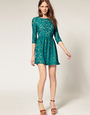 Image 4 ofFrench Connection Lace Dress With 3/4 Sleeve