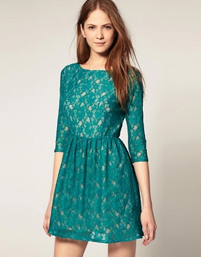 Image 1 ofFrench Connection Lace Dress With 3/4 Sleeve