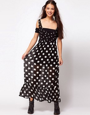 Image 4 ofOne Teaspoon Control Yourself Polka Dot Maxi Dress