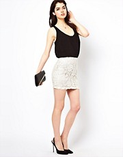 Lipsy Waxed Lace Skirt