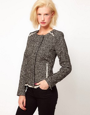 Image 1 ofASOS Tweed Biker Jacket