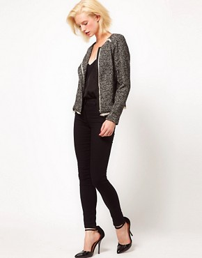 Image 4 ofASOS Tweed Biker Jacket
