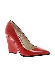 ALDO Georgen Red Block Heeled Pointed Court Shoes