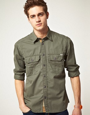 Image 1 ofJack and Jones Vintage Long Sleeve Union Army Shirt
