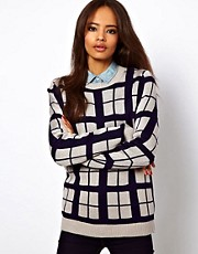 ASOS Check Jumper In Contrast Yarn