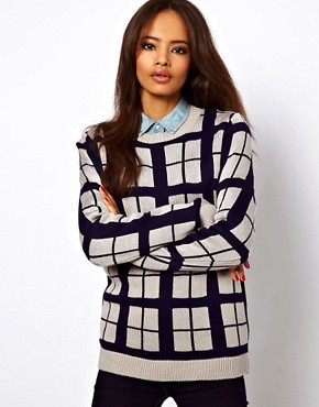 Image 1 of ASOS Check Jumper In Contrast Yarn