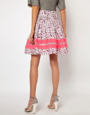 Image 2 ofLulu &amp; Co Full Skirt in Owl Print with Neon Trim