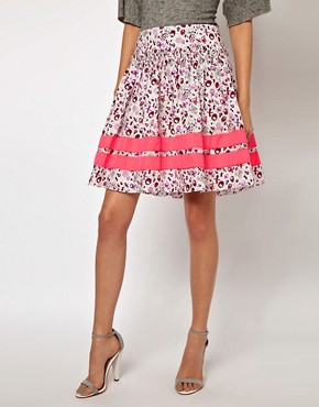 Image 4 ofLulu &amp; Co Full Skirt in Owl Print with Neon Trim