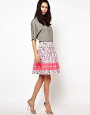 Lulu &amp; Co Full Skirt in Owl Print with Neon Trim