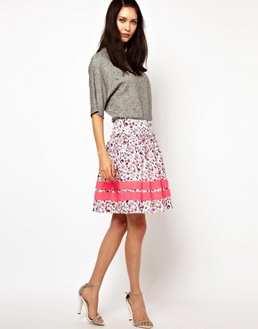 Image 1 ofLulu &amp; Co Full Skirt in Owl Print with Neon Trim