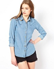 A Wear Lightweight Denim Shirt With Gold Collar Tips