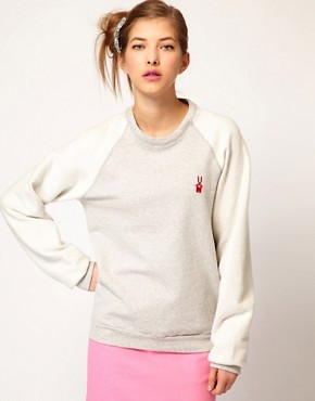 Image 1 ofPeter Jensen Reverse Sweatshirt with Bunny Applique Logo