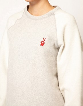 Image 3 ofPeter Jensen Reverse Sweatshirt with Bunny Applique Logo