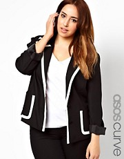 ASOS CURVE Exclusive Blazer With Contrast Trim