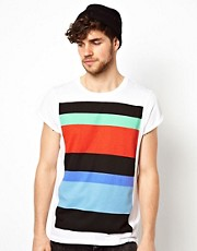 ASOS &ndash; Gestreiftes T-Shirt mit Umschlag an den rmeln