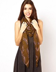 Liquorish Beige Zebra Print Scarf