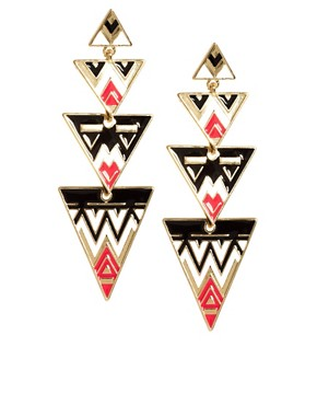 Image 1 ofASOS Aztec Triangle Drop Earrings