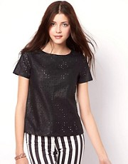 Vero Moda Leather Look Cut Out Top