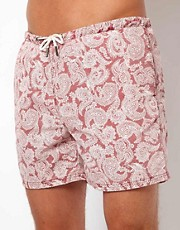 River Island Paisley Print Sulphur Wash Swim Shorts