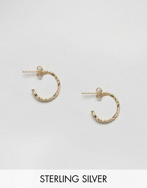 ASOS Gold Plated Sterling Silver 15mm Etched Hoop Earrings