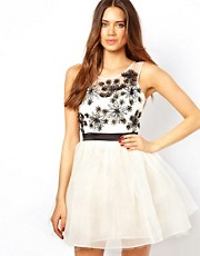Lipsy Laser Cut Flower Detail Prom Dress