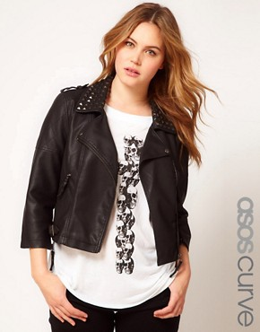 Image 1 of ASOS CURVE Leather Look Biker Jacket With Studded Collar