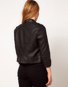 Image 2 ofASOS CURVE Leather Look Biker Jacket With Studded Collar