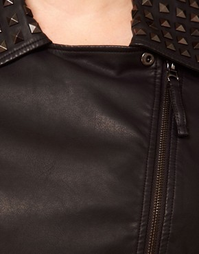 Image 3 ofASOS CURVE Leather Look Biker Jacket With Studded Collar