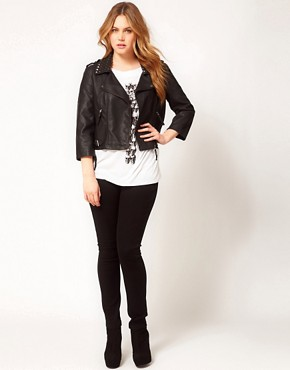 Image 4 ofASOS CURVE Leather Look Biker Jacket With Studded Collar