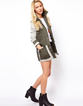 Image 4 ofASOS Contrast Jersey Parka