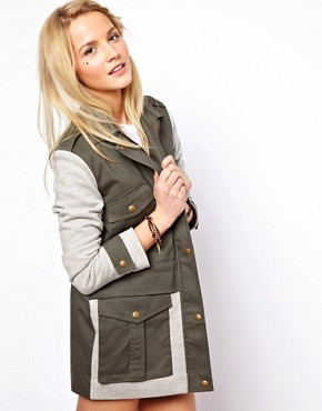 Image 1 ofASOS Contrast Jersey Parka
