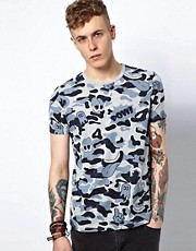 ASOS T-Shirt With All Over Camo Cartoon Print