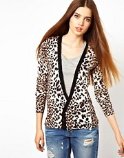 Unconditional Leopard Print Cardigan with Black Collar