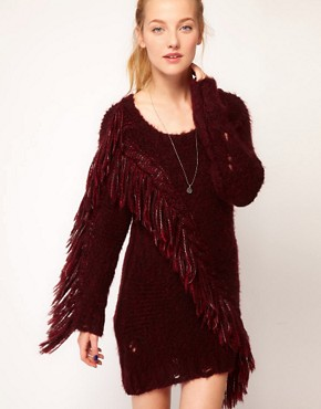 Image 1 ofDiesel Fringe Detail Jumper Dress