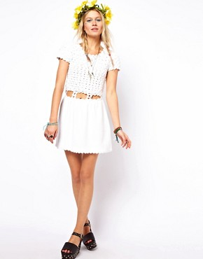 Image 4 of ASOS Crochet Village Skater Dress
