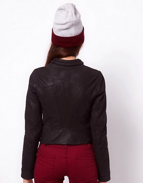 Image 2 ofVero Moda Collarless Leather Jacket