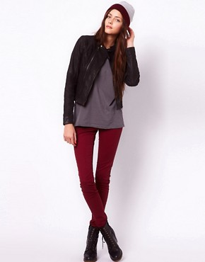 Image 4 ofVero Moda Collarless Leather Jacket