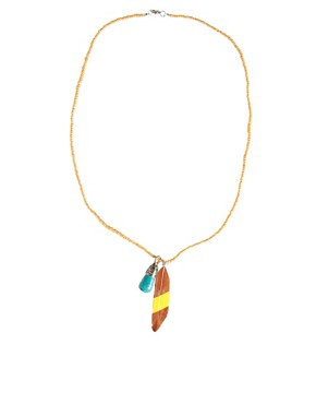 Image 2 ofASOS Feather and Stone Necklace
