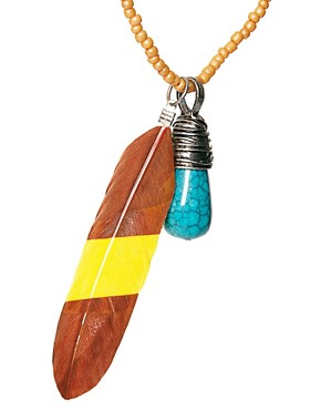 Image 4 ofASOS Feather and Stone Necklace