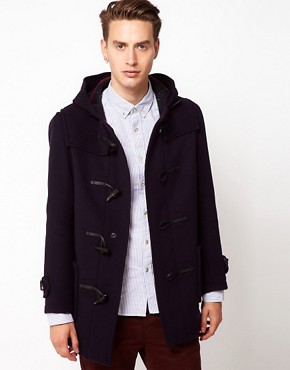 Image 1 ofGloverall Made In London Wool Checkback Duffle Coat