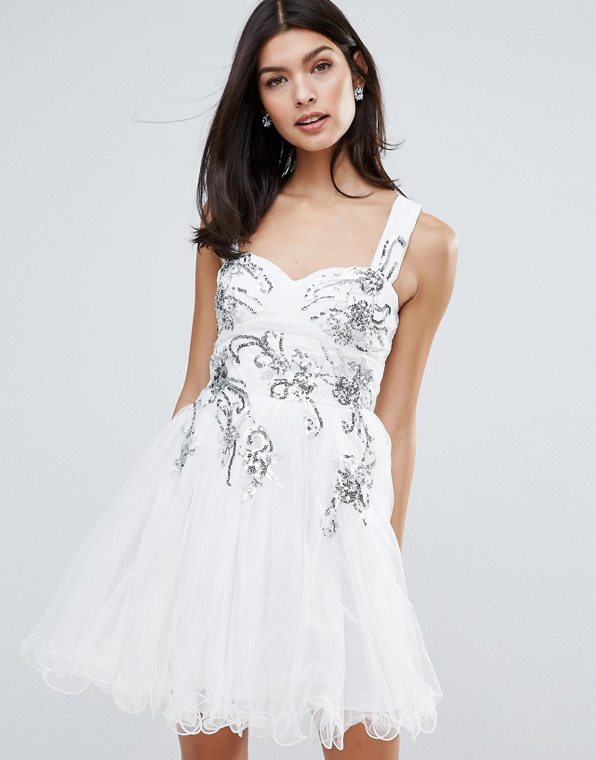 Little Mistress Skater Dress With Floral Embellishment