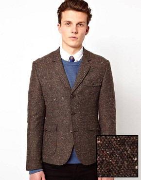 Image 1 ofASOS Slim Fit Tweed Blazer with Shooting Patch