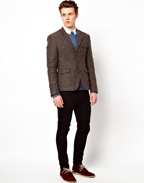 Image 4 ofASOS Slim Fit Tweed Blazer with Shooting Patch