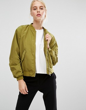 Monki Sateen Bomber Jacket