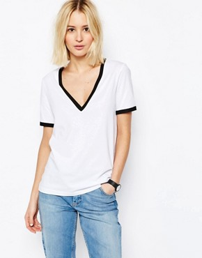 ASOS V Neck T-Shirt With Tipping
