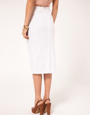 Image 2 ofASOS Linen Pencil Skirt With Button Detail