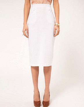 Image 4 ofASOS Linen Pencil Skirt With Button Detail