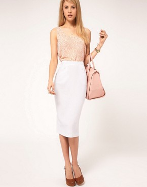 Image 1 ofASOS Linen Pencil Skirt With Button Detail
